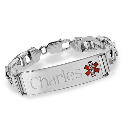 Men's Sterling Silver Medical Alert Anchor-Link Bracelet with Enamel