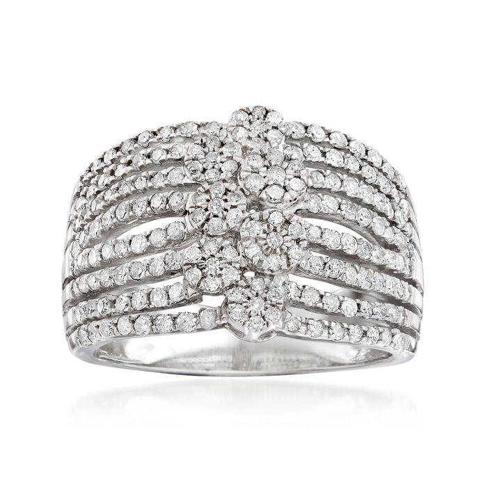 1.00 ct. t.w. Diamond Multi-Row Flower Ring in Sterling Silver. Size 5