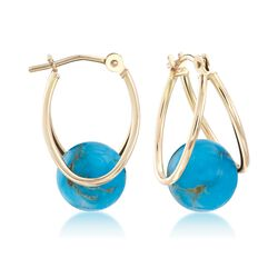 "Turquoise Double Hoop Earrings in 14kt Yellow Gold. 5/8"", , default"