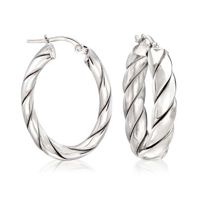 Italian Sterling Silver Twisted Oval Hoop Earrings