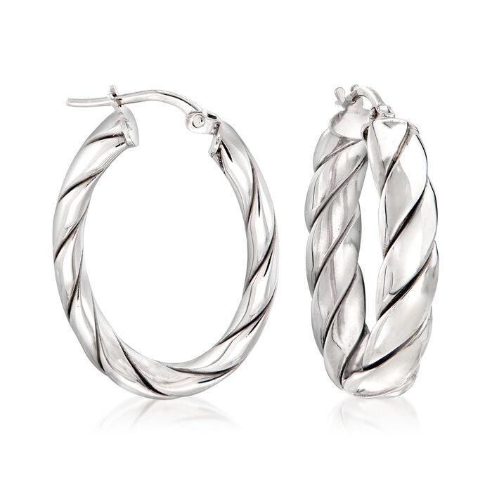 """Italian Sterling Silver Twisted Oval Hoop Earrings. 1 1/8"""""""