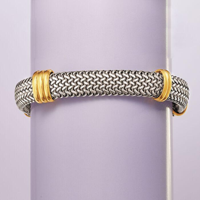 Italian Sterling Silver and 18kt Bonded Gold Woven Bracelet