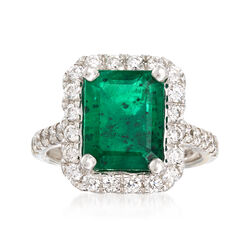 3.30 Carat Emerald and .95 ct. t.w. Diamond Ring in 14kt White Gold, , default