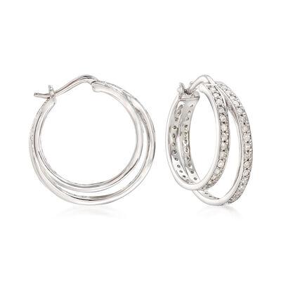 1.00 ct. t.w. Diamond Double Hoop Earrings in 14kt White Gold, , default