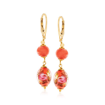Italian Orange Murano Bead Drop Earrings in 18kt Yellow Gold Over Sterling Silver