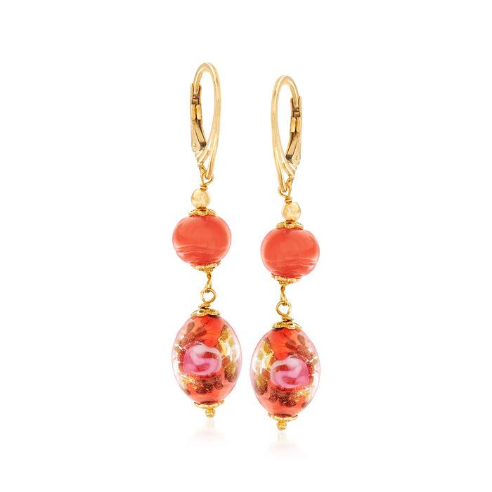 Italian Orange Murano Bead Drop Earrings in 18kt Yellow Gold Over Sterling Silver