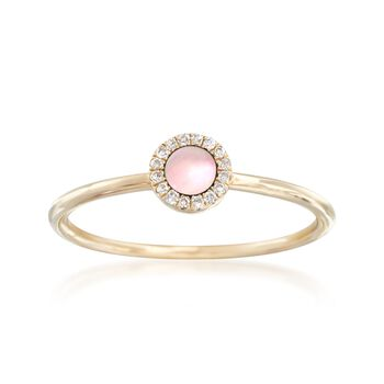 Pink Mother-Of-Pearl Ring With Diamond Accents in 14kt Yellow Gold, , default