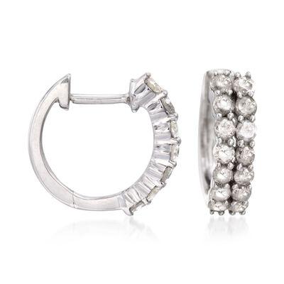 1.00 ct. t.w. Diamond Two-Row Hoop Earrings in Sterling Silver, , default