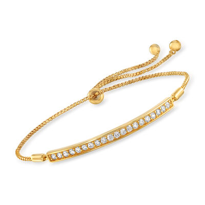 .60 ct. t.w. CZ Curved Bar Bolo Bracelet in 18kt Gold Over Sterling