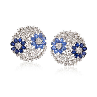 7.00 ct. t.w. Sapphire and 3.42 ct. t.w. Diamond Flower Earrings in 14kt White Gold, , default