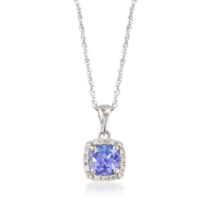 """.70 Carat Tanzanite Pendant Necklace with Diamond Accents in 14kt White Gold. 18"""", , default"""