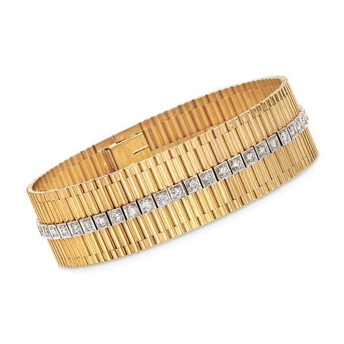 "C. 1960 Vintage 2.35 ct. t.w. Diamond Row Bracelet in 14kt Yellow Gold. 7"", , default"