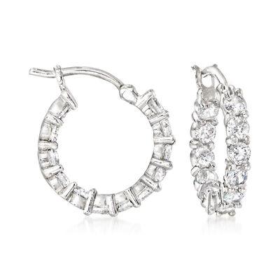 1.80 ct. t.w. CZ Hoop Earrings in Sterling Silver