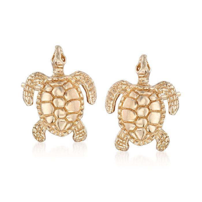 14kt Yellow Gold Turtle Stud Earrings, , default