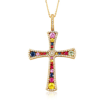 1.90 ct. t.w. Multi-Gemstone and .50 ct. t.w. Diamond Cross Pendant Necklace in 14kt Yellow Gold, , default