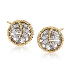 Andrea Candela Sterling Silver and 18kt Yellow Gold Leaf Earrings With Diamond Accents, , default