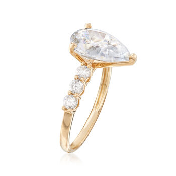 3.60 ct. t.w. Pear-Shaped and Round CZ Ring in 14kt Yellow Gold, , default