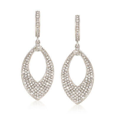 1.00 ct. t.w. Diamond Marquise Hoop Drop Earrings in 14kt White Gold, , default