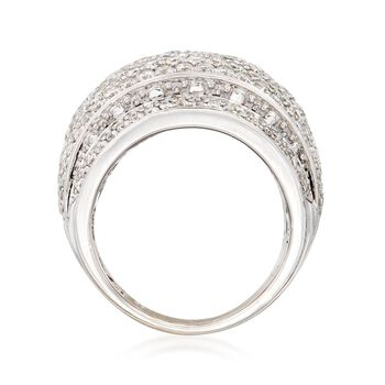 C. 1990 Vintage 3.53 ct. t.w. Diamond Dome Ring in 18kt White Gold. Size 7