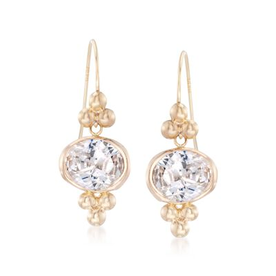 2.50 ct. t.w. Bezel-Set CZ Drop Earrings in 14kt Yellow Gold, , default