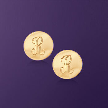 14kt Yellow Gold Personalized Disc Earrings, , default