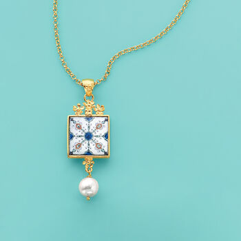 Italian 9mm Cultured Pearl Majolica Tile Pendant Necklace in 18kt Gold Over Sterling, , default