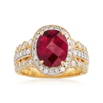 C. 1990 Vintage 4.40 Carat Rhodolite Garnet and 1.00 ct. t.w. Diamond Cocktail Ring in 14kt Yellow Gold