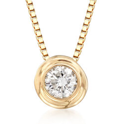 ".12 Carat Double Bezel-Set Diamond Solitaire Necklace in 14kt Yellow Gold. 18"", , default"