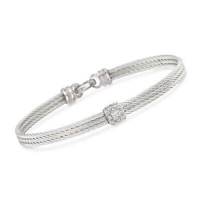 "ALOR ""Classique"" Gray Cable Station Bracelet With Diamond Accents and 18kt White Gold, , default"