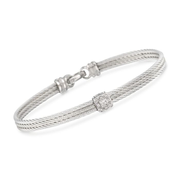"""ALOR """"Classique"""" Gray Cable Station Bracelet with Diamond Accents and 18kt White Gold. 7"""", , default"""