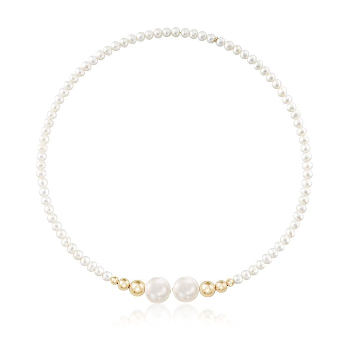 4-5mm and 13mm Cultured Pearl Choker Necklace With 14kt Yellow Gold Beads , , default