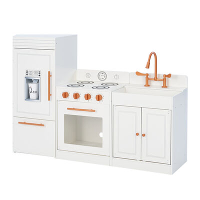 "Child's ""Little Chef"" Paris Modern Play Kitchen in White and Rose Gold"