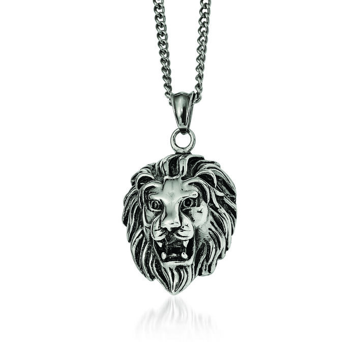"Stainless Steel Antiqued and Polished Lion Head Pendant Necklace. 24"", , default"