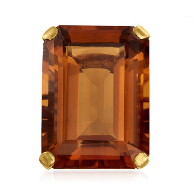 C. 1940 Vintage 38.00 Carat Citrine and .35 ct. t.w. Diamond Cocktail Ring in 14kt Yellow Gold