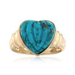 Stabilized Turquoise Heart-Shaped Ring in 14kt Yellow Gold, , default