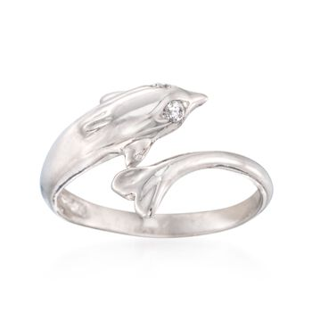 Sterling Silver Dolphin Bypass Toe Ring With CZ Accents, , default