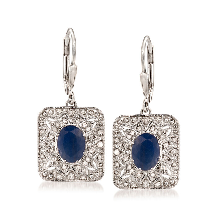 2.90 ct. t.w. Sapphire and .26 ct. t.w. Diamond Vintage-Style Drop Earrings in Sterling Silver