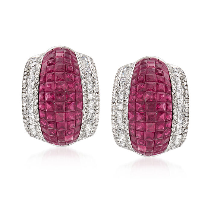4.70 ct. t.w. Ruby and 1.57 ct. t.w. Diamond Earrings in 18kt White Gold