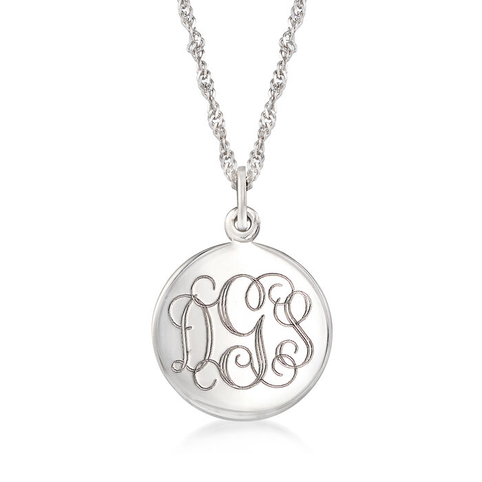 Sterling Silver Personalized Round Locket Necklace, , default