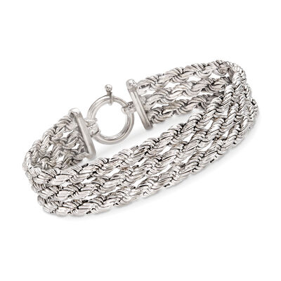 Sterling Silver Three-Row Rope Chain Bracelet, , default