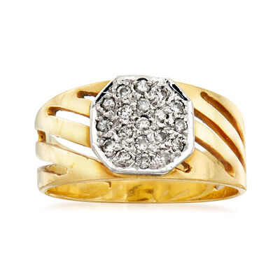 C. 1980 Vintage .25 ct. t.w. Pave Diamond-Top Ring in 18kt Yellow Gold, , default