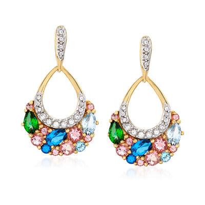 2.40 ct. t.w. Multicolored Swarovski Topaz Drop Earrings in 18kt Gold Over Sterling, , default