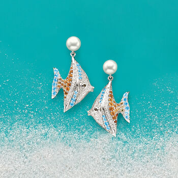 7-7.5mm Cultured Pearl and 1.65ct. t.w. Multi-Stone Angelfish Earrings in Sterling Silver., , default