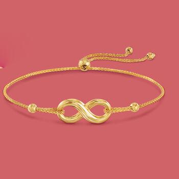 14kt Yellow Gold Infinity Symbol Bolo Bracelet