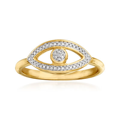 14kt Yellow Gold Evil Eye Ring with Diamond Accents, , default