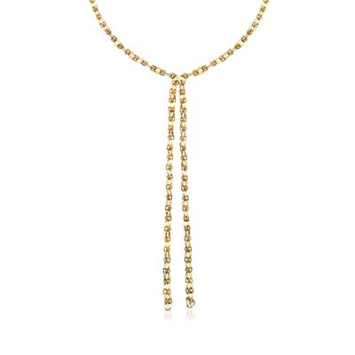 Italian 18kt Yellow Gold Over Sterling Silver Mixed Link Lariat-Style Necklace, , default