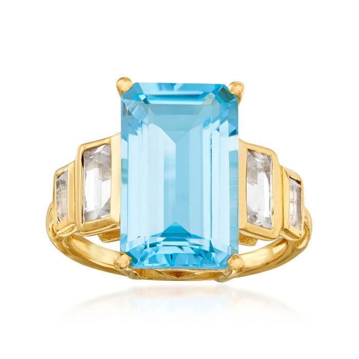 12.90 ct. t.w. Sky Blue and White Topaz Ring in 18kt Gold Over Sterling