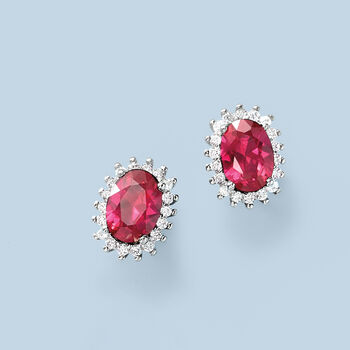 1.20 ct. t.w. Synthetic Ruby and .10 ct. t.w. CZ Halo Earrings in Sterling Silver