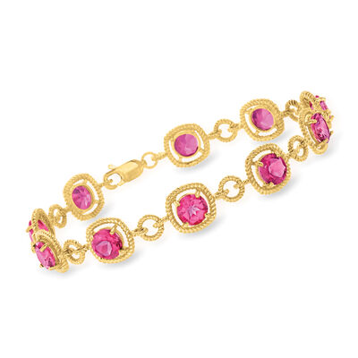 9.00 ct. t.w. Pink Topaz Bracelet in 18kt Gold Over Sterling