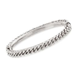 Italian Sterling Silver Curb Chain Bangle Bracelet, , default
